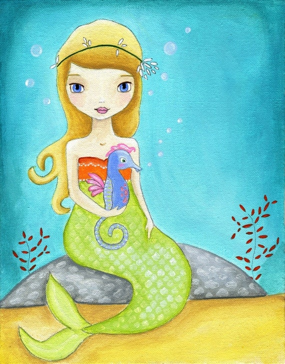 Mermaid Seahorse Nautical Kids Art Print