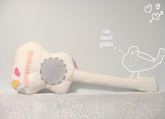 a little heart guitar        softie pillow by lindsay brackeen