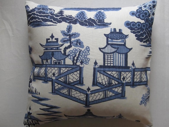 Schumacher Nanjing Print Pillow in French Blue with Summer Palace Fret Reverse