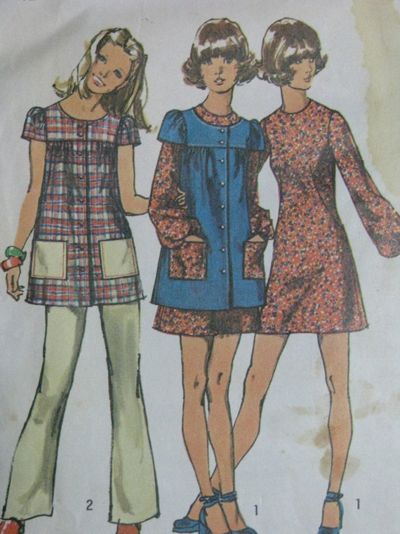 Simplicity 9834, early 1970s smock, dress, and pants