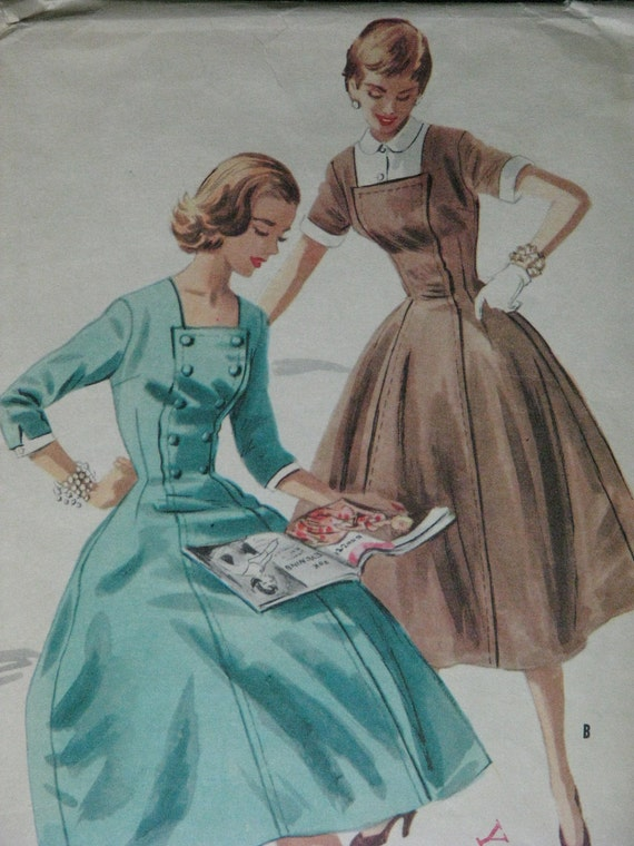 Vintage pattern, 1950s dress, guimpe, and detachable cuffs, McCall's 3351