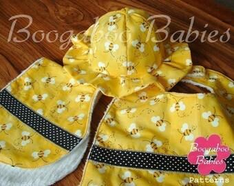Baby Gift Set Bib Burpie Sun Hat Sewing Pattern - PDF