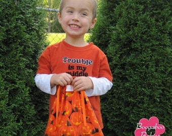 BOO Bags Halloween Trick Or Treat Candy Bag Sewing Pattern - PDF