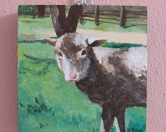 4 inch square Acrylic Sheep Painting