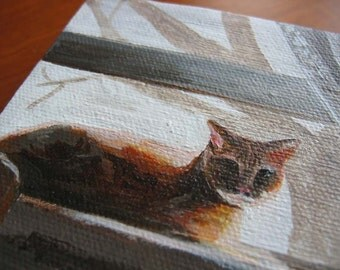 4 inch square Acrylic Cat Painting