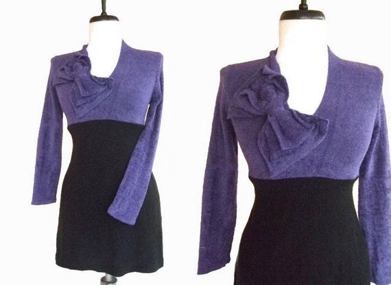 Bow Tunic Sweater S Small Purple Black Empire Waist