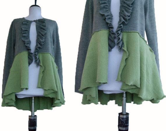 Peplum Cardigan Sweater M/L Medium Large Recycled Eco Friendly Ruffled Heather Gray Sage Green
