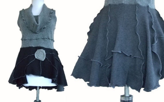 Reserved for Skyymore Peplum Sweater Vest M Medium Recycled Eco Friendly Ruffled Heather Gray Charcoal Black Cashmere Thermal Layering