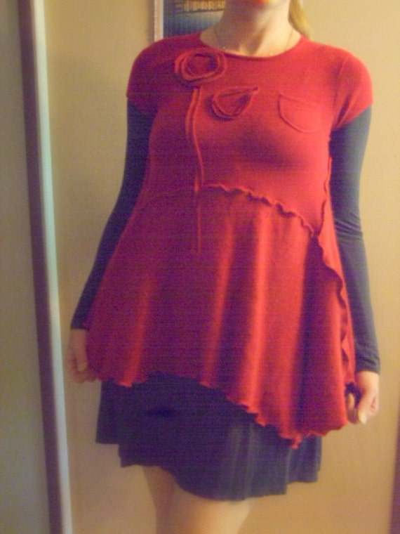 Cashmere Asymmetric Tunic Sweater S/M Small Medium Red Ruffle Flare Patchwork Recycled Eco Friendly  Womens Clothing