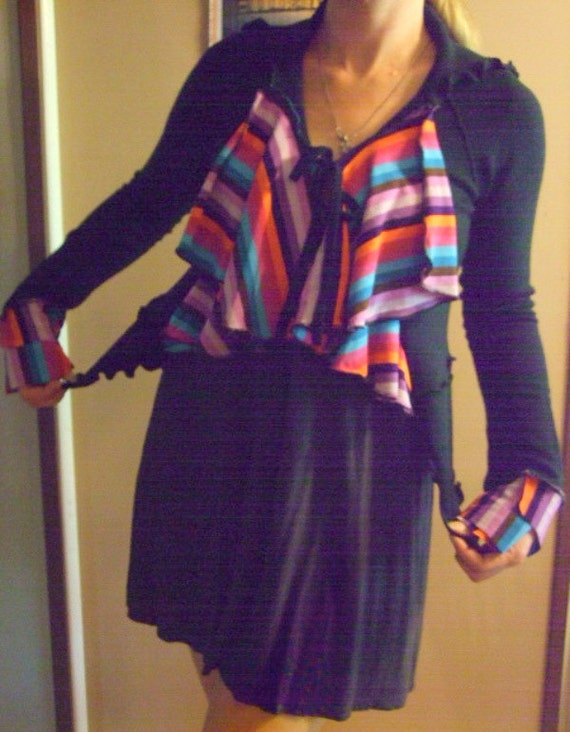 SALE Rainbow Striped Sweater Cardigan S/M recycled eco Friendly Ruffled Asymmetric Black Handmade Womens Clothing
