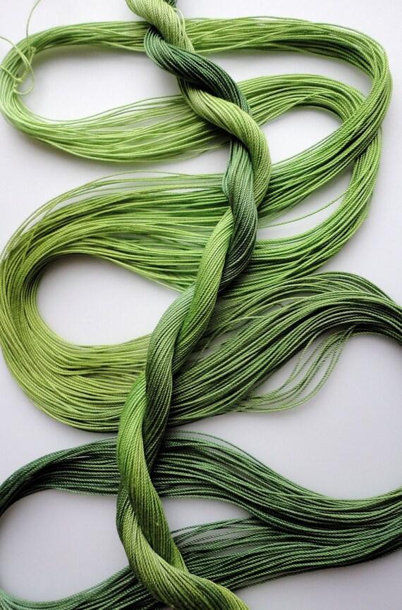 """Hand dyed tatting crochet thread size 20 """"Leafy"""""""