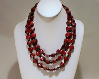 Red Coin Pearls Triple Necklace and Earrings Set