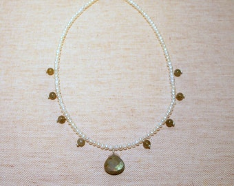 Freshwater Pearls and Labradorite Drop Necklace