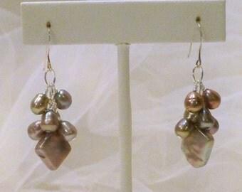 Taupe Iris Freshwater Pearl Earrings