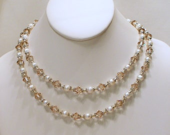 Ceylon Topaz Crystals and Pearl Double Strand Necklace