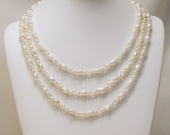 Crystal and Freshwater Pearl Baroque Necklace