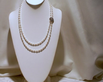 Victorian Double Strand Pearl and Crystal Necklace