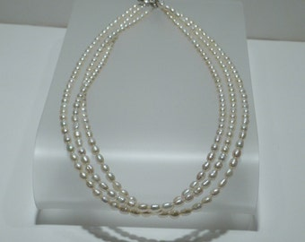 Triple Strand Rice Pearl Necklace