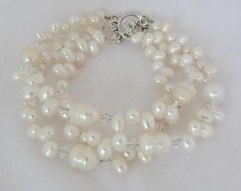 3 Strand Freshwater Pearl Bracelet