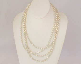 Overlapping 4 Strand Pearl and Crystal Bridal Necklace