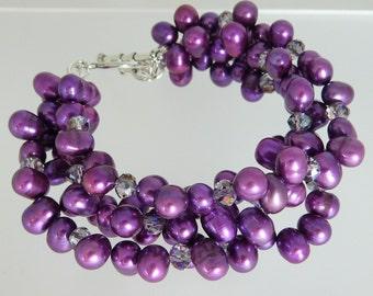 Fuschia 4 Strand Pearl Bracelet