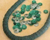 Vintage Sequins Strand EMERALD GREEN GLOSS full strand Couture