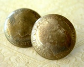 SALE Antique Barber Dime Coin Buttons1913 and 1915 lot of 2