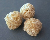 Desert Rose Beads Selenite Crystal Stones lot of 3 NATURAL ELEMENTS drilled for stringing