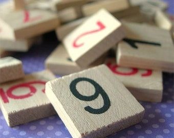 """Vintage Game Pieces Square Wooden Number Tiles in BLACK and RED 3/4"""" lot of 14"""