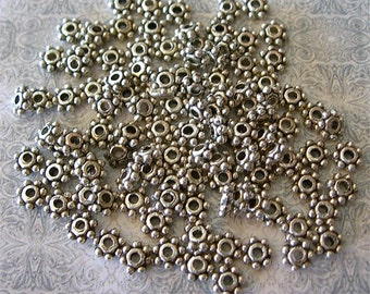 SILVER Daisy Spacer Beads Tiny Petite 4mm lot of 100 Jewelry Studio Essentials