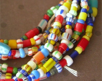 "Vintage African Trade Beads AKA Christmas Beads tiny glass seed beads 33"" strand size 11-0"