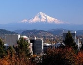 Portland Skyline and Mt. Hood, Oregon Fine Art Print