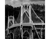 Portland, Oregon St Johns Bridge Black and White Print