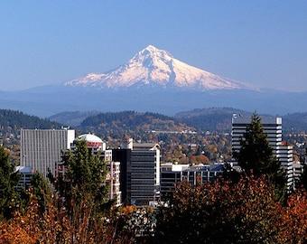 Portland Skyline and Mt. Hood, Oregon Fine Art Print