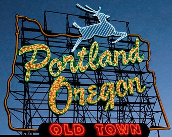 Portland Oregon White Stag Sign Printed on Canvas Adhered to Birch or as a Matted Fine Art Print