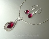 Ruby Swarovski Crystal Pendant and Sterling Silver Chain Set