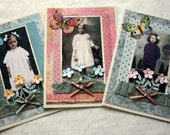 OOAK Collaged Greeting Cards Set of Three