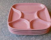 rare vintage ceramic divided square plates in pretty pink