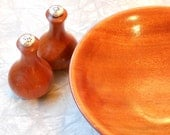 vintage set - salt and pepper shakers with mahogany bowl