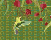 Hummingbird with blossoms  art print