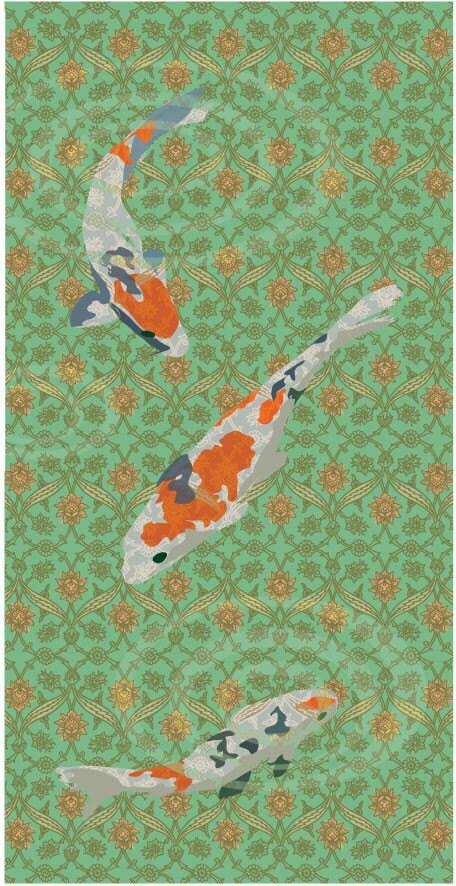 Koi pond art print for Koi fish pond art