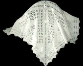 Pure White Baby Afghan Blanket Lace and Eyelets
