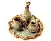 Miniature Bottle Set - handthrown -turquoise