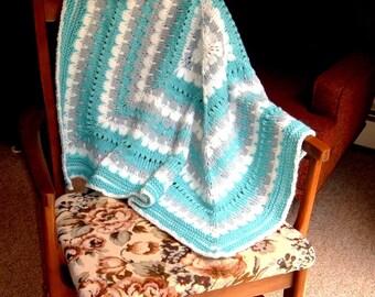 Aqua Baby Afghan Blanket handknit. Toddler, Stroller, Car Seat, Wheel Chair