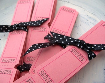 100 Blank Carnival Tickets - Powder Pink