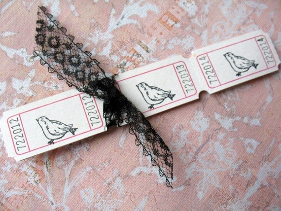 150 Little Bird Carnival Tickets - White - Wedding -Shower - Reception - Drink
