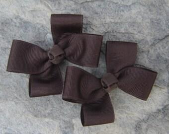 Brown Hair Bows,Pigtail Hair Bows,Alligator Clips,3 Inches Wide,Non Slip Hair Bows,Hair Clippies