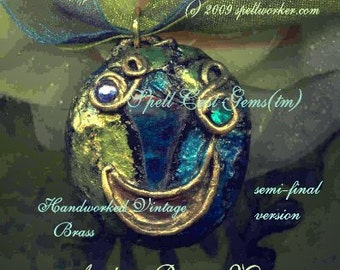 Tolkien/ Necklace/Pendant/ ANDUIN RIVER MOON/ Elven Magic Jewelry(tm)/ Celtic/ Sapphire/ Filigree/ Handworked Brass/ Roses