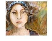 Giclee print on cotton fabric -  girl with headband