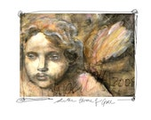 Giclee print on cotton fabric -  at the throne of grace